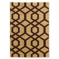 Linon Home Ellegance New Geometric 2' x 3' Accent Rug in Beige