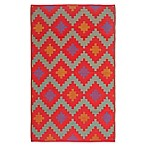 FH Home Jakarta 6-Foot x 9-Foot Recycled Patio Mat in Red