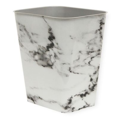 7 Gallon Plastic Rectangular Trash Can In Black Marble
