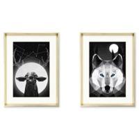 StyleCraft Deer & Wolf Graphic Prints Wall Art (Set of 2)