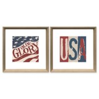 Olde Glory 18-Inch Square Framed Wall Art (Set of 2)