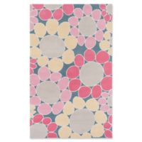 Surya Peek-A-Boo Floral Hand-Knotted 2' x 3' Area Rug in Pink/Denim