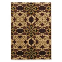 Linon Home Ellegance 5' x 7'3 Liliy Area Rug in Brown/Beige
