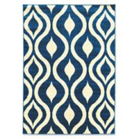 Linon Home Claremont Drops 5' x 7' Area Rug in Blue/Cream