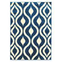 Linon Home Claremont Drops 8' x 10'2 Area Rug in Blue/Cream