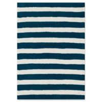 Loloi Rugs Lola Striped 3' Round Shag Area Rug in Navy/White