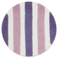 Loloi Rugs Lola Striped 3' Round Shag Area Rug in Plum/Lilac