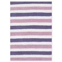 Loloi Rugs Lola Striped 7'3 x 9'3 Shag Area Rug in Plum/Lilac