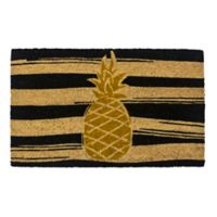 "Entryways Golden Pineapple 17"" x 28"" Coir Door Mat in Gold/Black"
