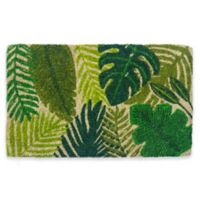 "Entryways Tropical Leaves 18"" x 30"" Coir Door Mat in Green"
