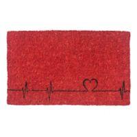 """Entryways Heartbeats 18"""" x 30"""" Coir Door Mat in Red"""