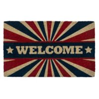 "Entryways Patriotic Welcome 17"" x 28"" Coir Door Mat in Red/White/Blue"