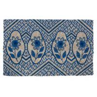 """Entryways Delft Flowers 22"""" x 33"""" Coir Door Mat in Blue"""
