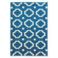 Linon Home Décor Claremont 5' x 7' Octagon Area Rug in Blue/Cream