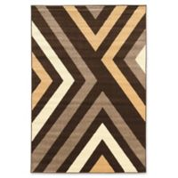Linon Home Décor Claremont X's 2' x 3' Accent Rug in Brown/Beige