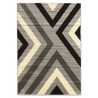 Linon Home Décor Claremont X's 5' x 7' Area Rug in Black/Grey