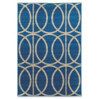 Linon Home Décor Claremont 5' x 7' Links Area Rug in Blue/Grey