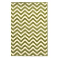 Linon Home Claremont Chevron 5' x 7' Area Rug in Green