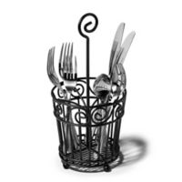 Spectrum™ Scroll Metal Flatware Caddy in Black