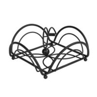 Spectrum Flower Metal Weighted Napkin Holder in Black