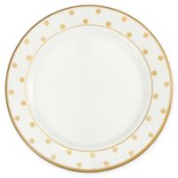 Q Squared Moonbeam Dots 10.5-Inch Round Dinner Plate in Gold (Set of 4)