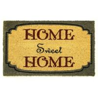 "Dynamic Rugs Aspen 18"" x 30"" Home Sweet Home Coir Door Mat in Gold/Blue"