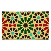 "Dynamic Rugs Aspen 18"" x 30"" Block Print Coir Multicolor Door Mat"