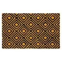 "Dynamic Rugs Vale 18"" x 30"" Diamonds Coir Door Mat in Black/Ivory"