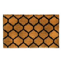 "Dynamic Rugs Vale 18"" x 30"" Agra Coir Door Mat in Black/Ivory"