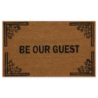 "Dynamic Rugs Vale 18"" x 30"" Be Our Guest Coir Door Mat in Black/Ivory"