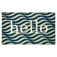 "Dynamic Rugs Aspen 18"" x 30"" Wavy Hello Coir Door Mat in Blue/Ivory"