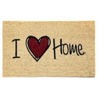 "Dynamic Rugs Aspen 18"" x 30"" Heart Home Coir Door Mat in Ivory/Red"