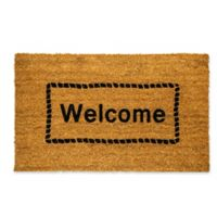 "Dynamic Rugs Vale 18"" x 30"" Welcome Framed Coir Door Mat in Ivory"