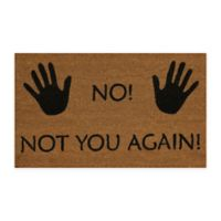 "Dynamic Rugs Vale 18"" x 30"" Not You Again Coir Door Mat in Ivory/Black"