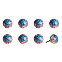 Knob-It! Vintage Hand Painted 8-Pack Ceramic Round Knob Set in Blue/Orange