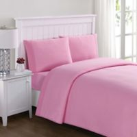 My World Solid Jersey Twin Sheet Set in Pink