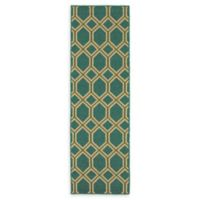 Tommy Bahama Seaside 2'3 x 7'6 Indoor/Outdoor Honeycomb Runner in Green
