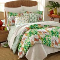 Nine Palms Butterfly Garden King Duvet Cover Set in Bright Green