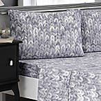 Brielle Knit Print Cotton Jersey Queen Sheet Set in Grey