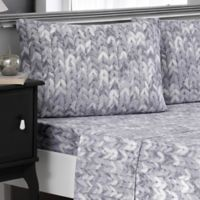 Brielle Knit Print Cotton Jersey Full Sheet Set in Grey