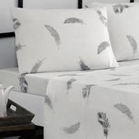 Brielle Feathers Jersey Knit Cotton Queen Sheet Set in Grey