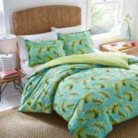 Nine Palms Palm Cove Reversible Twin Comforter Set in Turquoise/Aqua
