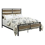 Forest Gate Metal and Wood Plank Queen Bed in Rustic Oak