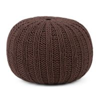 Simpli Home™ Shelby Cotton Round Pouf in Chocolate