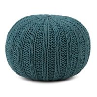 Simpli Home™ Shelby Cotton Round Pouf in Teal