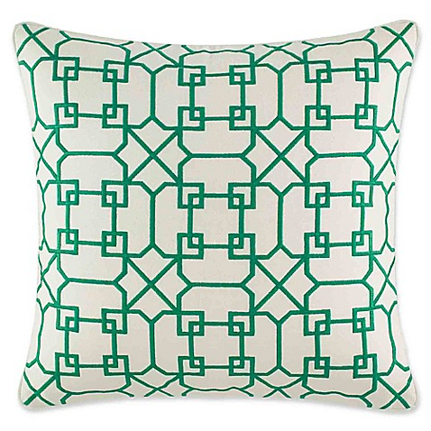 image of Nine Palms Embroidered Geometric 20-Inch Square Throw Pillow in Green