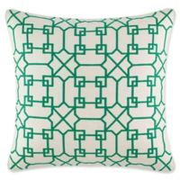 Nine Palms Embroidered Geometric 20-Inch Square Throw Pillow in Green