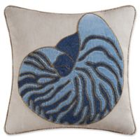 C&F Home Nautilus Shell Beaded Square Throw Pillow in Indigo
