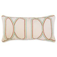 C&F Home Dashed Geo Embroidered Rectangular Throw Pillow in White
