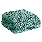 Madison Park Chunky Knit Throw Blanket in Aqua